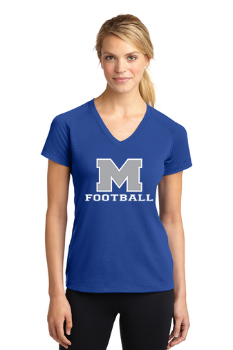 Female Model Wearing Royal Blue Short-Sleeve Ultimate Performance V-Neck with McNary High Schools Logo