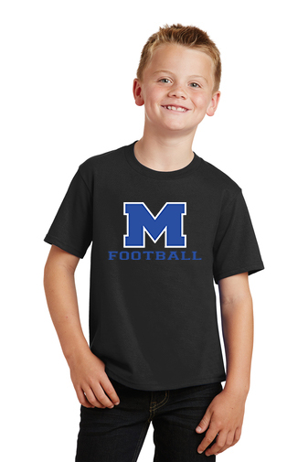 Boy Model Wearing Black Short-Sleeve T-Shirt with McNary High Schools Logo