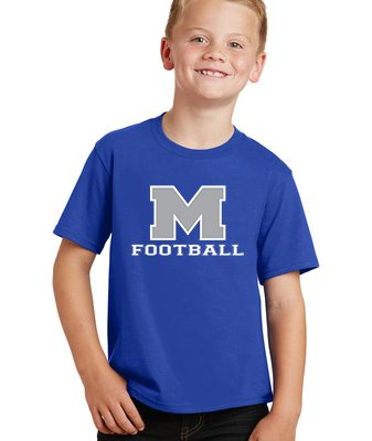 Boy Model Wearing Royal Blue Short-Sleeve T-Shirt with McNary High Schools Logo