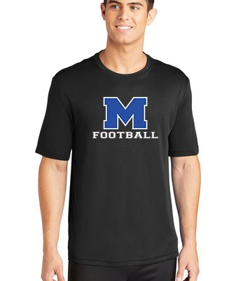 Male Model Wearing Black Short-Sleeve T-Shirt with McNary High Schools Logo