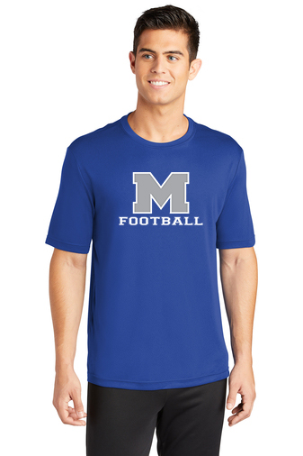 Male Model Wearing Royal Blue Long-Sleeve T-Shirt with McNary High Schools Logo