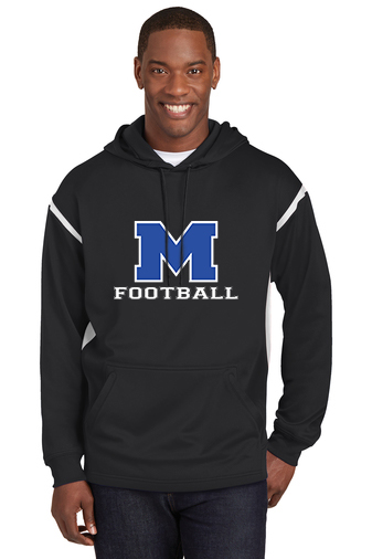 Male Model Wearing Black Hoodie with White Accents and McNary High School's Logo