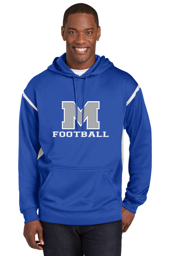Male Model Wearing Royal Blue Hoodie with White Accents and McNary High School's Logo