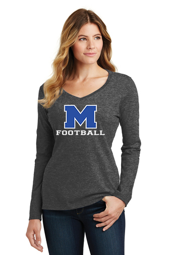 Female Model Wearing Gray Long-Sleeve V-Neck with McNary High Schools Logo