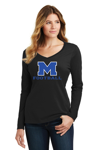 Female Model Wearing Black Long-Sleeve V-Neck with McNary High Schools Logo
