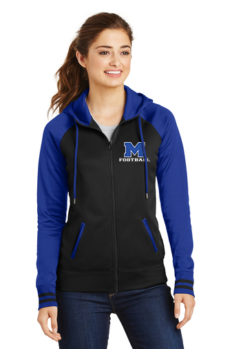 Female Model Wearing Black and Royal Blue Hooded Full-Zip Jacket with McNary High School's Logo