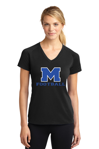 Female Model Wearing Black Short-Sleeve Ultimate Performance V-Neck with McNary High Schools Logo