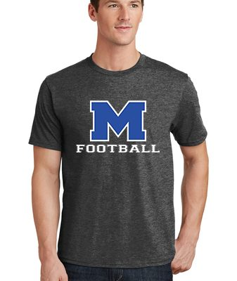 Male Model Wearing Grey Short-Sleeve T-Shirt with McNary High Schools Logo