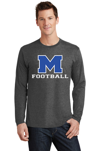 Male Model Wearing Grey Long-Sleeve T-Shirt with McNary High Schools Logo