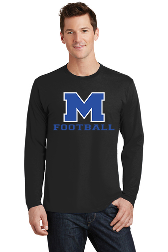 Male Model Wearing Black Long-Sleeve T-Shirt with McNary High Schools Logo