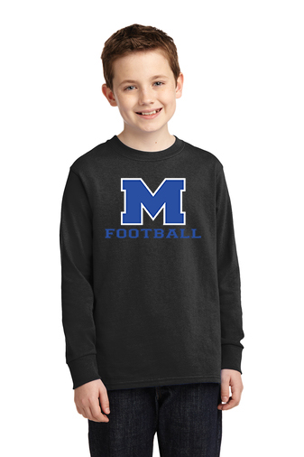 Boy Model Wearing Black Long-Sleeve T-Shirt with McNary High Schools Logo