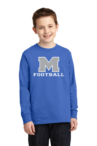 Boy Model Wearing Blue Long-Sleeve T-Shirt with McNary High Schools Logo