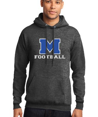 Male Model Wearing Grey Hoodie with McNary High School's Logo