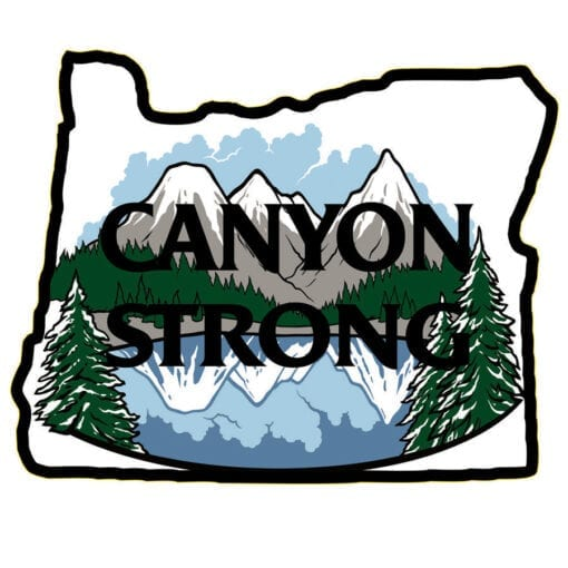 black outline of Oregon with Canyon Strong inside over an illustration of mountains reflecting in water