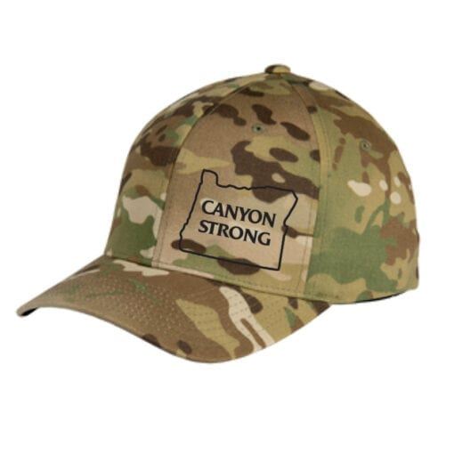 "camo ballcap with black outline of Oregon and the words ""canyon strong"""