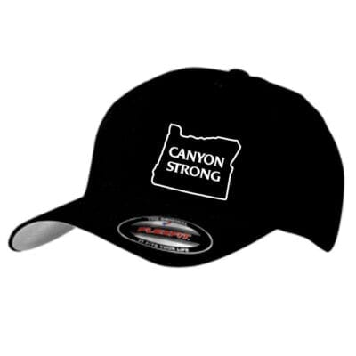 "black ballcap with white outline of Oregon and the words ""canyon strong"""