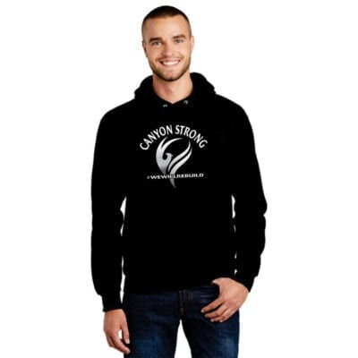 black hoodie with white and grey design that says Canyon Strong and #wewillrebuild with a smoke flourish