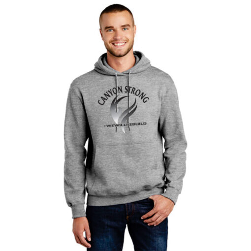 grey hoodie with black and grey design that says Canyon Strong and #wewillrebuild with a smoke flourish