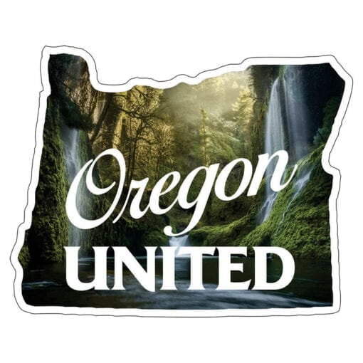 Shape of Oregon with waterfalls in the background and white text saying Oregon united