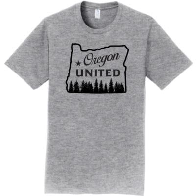 grey tshirt with black design oregon outline with trees that says Oregon United
