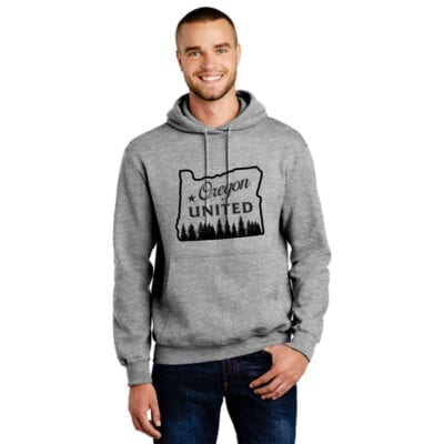 grey hoodie with black design oregon outline with trees that says Oregon United