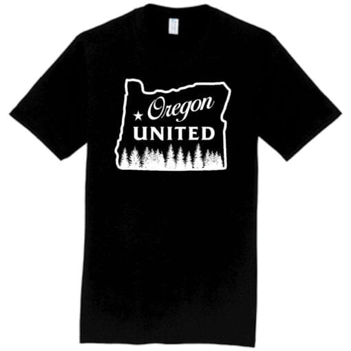 black tshirt with white design oregon outline with trees that says Oregon United