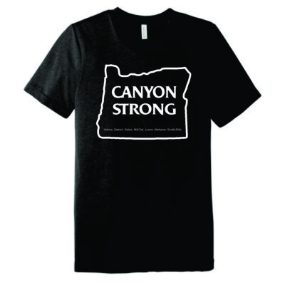 canyon strong inside an oregon outline with the names of burned cities on a black shirt