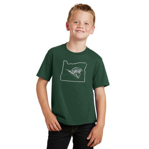 Boy Model Wearing Dark Green Short-Sleeve T-Shirt with West Salem High Schools Logo Surrounded by the Border of Oregon