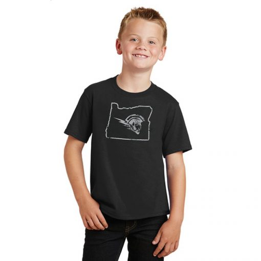 Boy Model Wearing Black Short-Sleeve T-Shirt with West Salem High Schools Logo Surrounded by the Border of Oregon