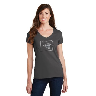 Female Model Wearing Gray Short-Sleeve V-Neck with West Salem High Schools Logo Surrounded by the Border of Oregon