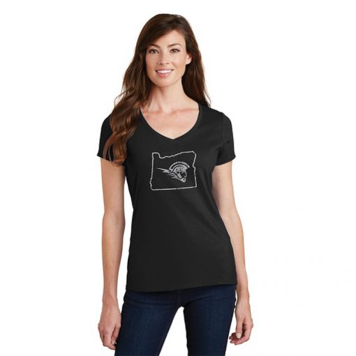 Female Model Wearing Black Short-Sleeve V-Neck with West Salem High Schools Logo Surrounded by the Border of Oregon
