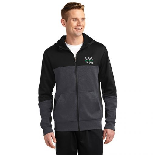 Male Model Wearing Black and Gray Hooded Full-Zip Jacket with West Salem High School's WS Titans Logo