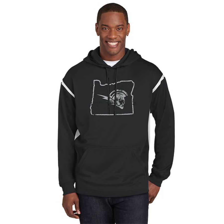 Male Model Wearing Black Hoodie with White Accents and West Salem High School's Logo Surrounded by Border of Oregon
