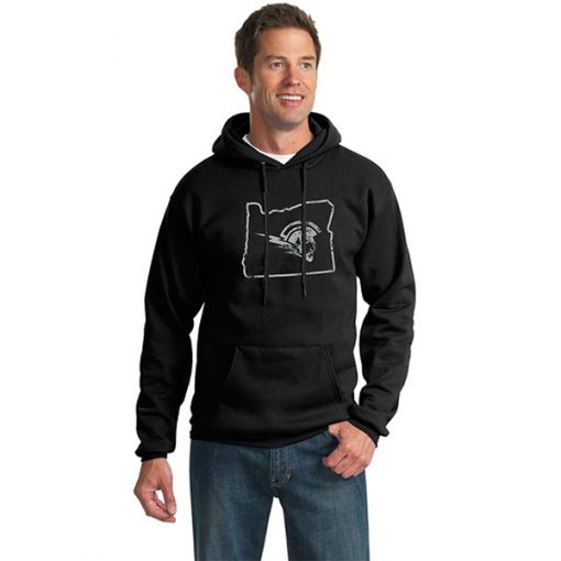 Male Model Wearing Black Hoodie with West Salem High School's Logo Surrounded by Border of Oregon