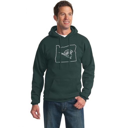 Male Model Wearing Dark Green Hoodie with West Salem High School's Logo Surrounded by Border of Oregon