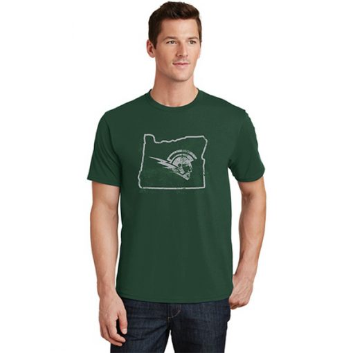 Male Model Wearing Dark Green Short-Sleeve T-Shirt with West Salem High Schools Logo Surrounded by the Border of Oregon