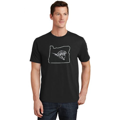 Male Model Wearing Black Short-Sleeve T-Shirt with West Salem High Schools Logo Surrounded by the Border of Oregon