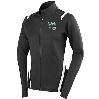 Black Augusta Ladies Freedom Jacket with white accents and West Salem High School WS Titans Logo