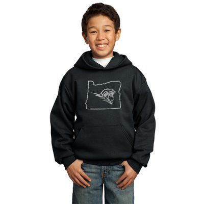 Boy Model Wearing Black Hoodie with West Salem High School Logo Surrounded by Outline of Oregon