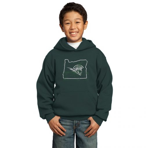 Boy Model Wearing Dark Green Hoodie with West Salem High School Logo Surrounded by Outline of Oregon